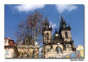 The spires of the Gothic-style Church of Our Lady Before Tyn, in Old Town Square, Prague, tower above the city.