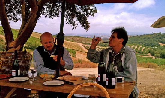 Sampling local wines at Adelaida Cellars during California Wine Month.