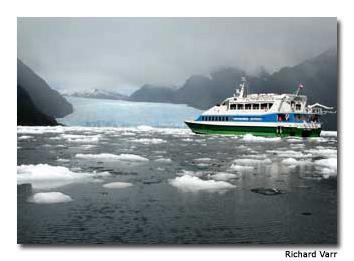 Visitors enjoy a firsthand view of the San Rafael Glacier via thePatagonia Express.