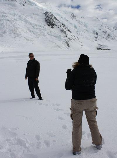 Walking on the Tasman Glacier