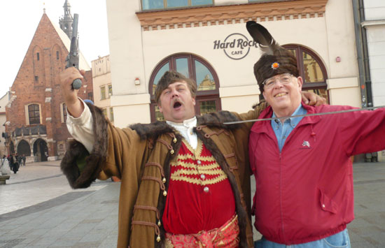 Pawl Jan entertaining tourists in Krakow