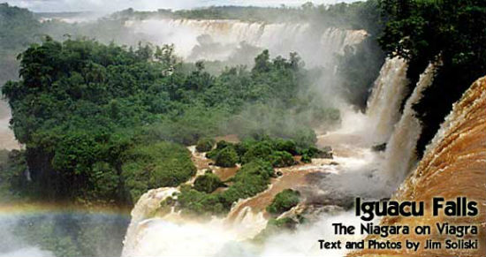 The waterfalls at Brazil and Argentina's meeting point rush down.