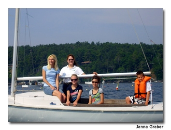 Despite their novice status, the family entered, and finished, their first sailing regatta. Photo courtesy Janna Graber