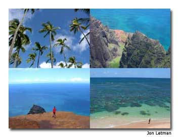 Escape mid-winter blahs for Hawaiian blues on Kaua'i. Pictured clockwise from upper left: swaying coconut palms in Wailua, jaw-dropping views from 'Awa'awapuhi Trail, taking a tai-chi break at Nualolo Kai, alone in the warm, shallow waters of Hideaways Beach, Princeville, Kaua'i. Photo by Jon Letman