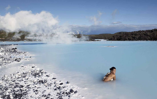 Soaking in the Blue Lagoon in Iceland