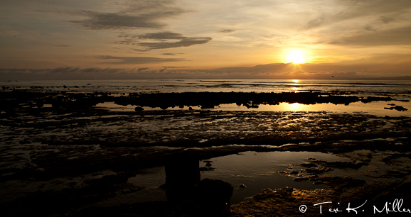 The sun glows over the ocean at the beach outside of Lapa Rios in Costa Rica.