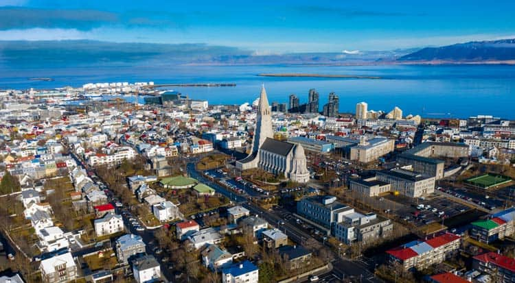 Overlooking city of Reykjavik in Iceland