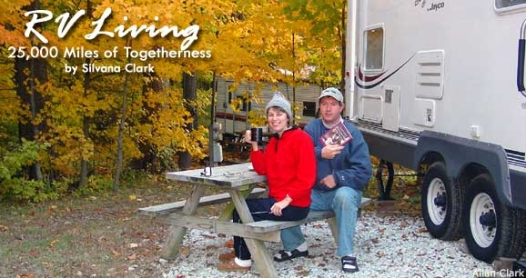 The author and her husband enjoy an outdoor breakfast next to their fifth wheel RV