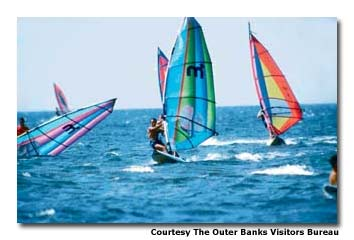 Windsurfing programs at Kitty Hawk Sports range from beginning to advanced.