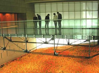 """A recreated Western front poppy field, reminiscent of the famed John McCrae poem, """"In Flanders Field,"""" represents thousands of dead combatants."""
