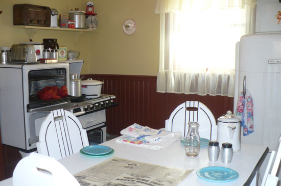 The kitchen where the Christmas dinner was stolen by the neighbor's dogs in The Christmas Story