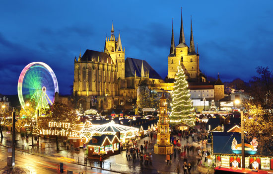 The Christmas market in Erfurt is held in front of St. Mary's Cathedral. Photo by Historic Highlights of Germany