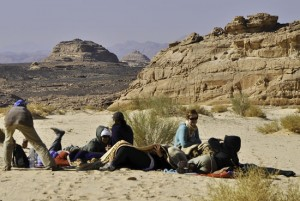 The author and friends on a desert picnic with the Bedouin in South Sinai.