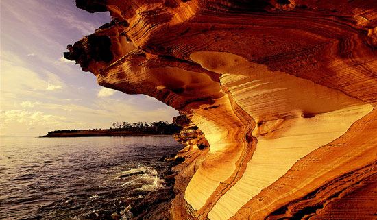 Butterscotch-colored cliffs backlit by a stormy sky on Maria's western shoreline in Tasmania. Photo by Australia Tourism.