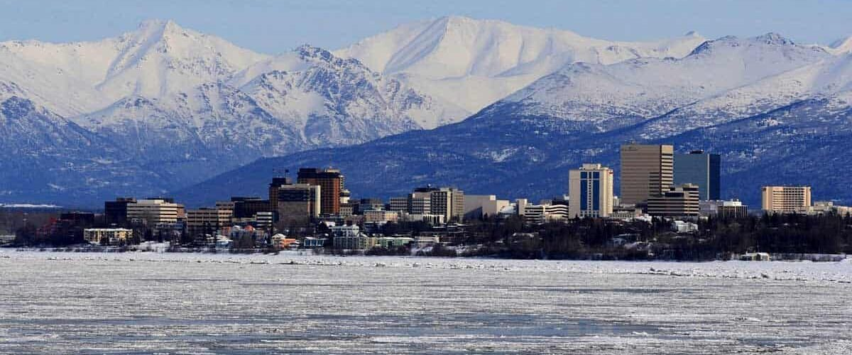 Anchorage in the winter in Alaska.