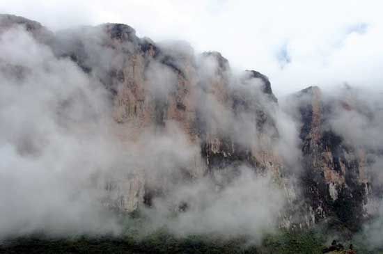 Mt. Roraima peeks out from the clouds as we begin our ascent. Photo by Marilynn Windust