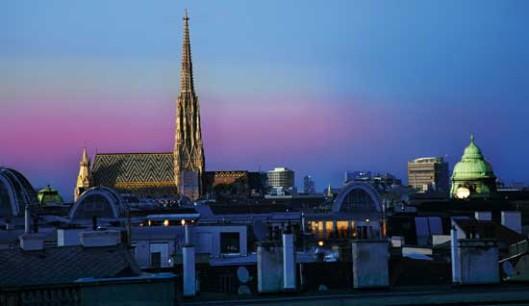 The sun sets in Vienna, Austria.