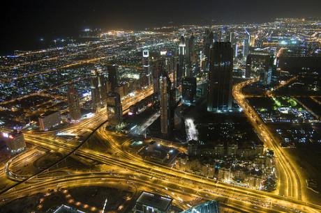 Dubai Skyline at night from the Burj Khalifa. © Crazy Diamond/Flickr