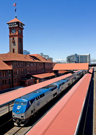 Coast Starlight in Portland, Oregon. Photo courtesy of Amtra