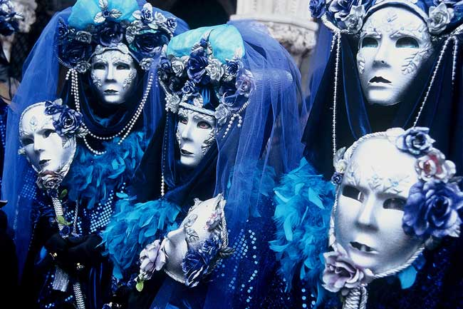 It's traditional for friends to dress alike at Venice Carnival.
