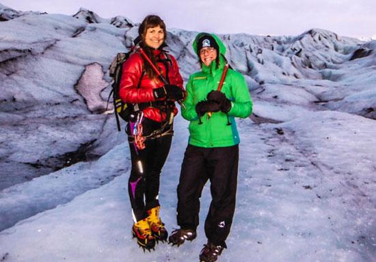 Glacier hiking in Iceland: Gina and Helga