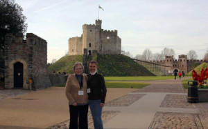 The author and her daughter at Cardiff Castle Keep