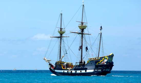 Yo, ho, ho! Cruise on the Caribbean with pirates aboard ship.