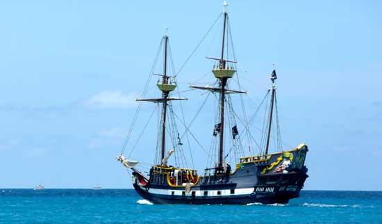 Yo, ho, ho! Cruise on the Caribbean with pirates aboard ship.