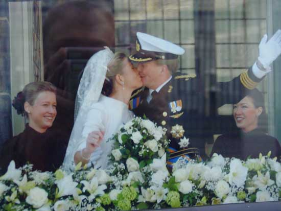 Prince Willem-Alexander and Princess Máxima on their wedding day in February 2002. Photo courtesy of NBTC Holland.