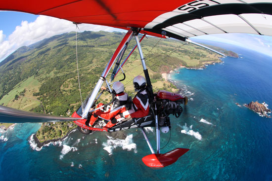 Power hang gliding over the ocean near Hana at 3,500 feet. Photo courtesy Gina Kremer