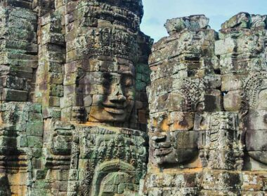 The ancient Angkor Wat Temple statues in Cambodia