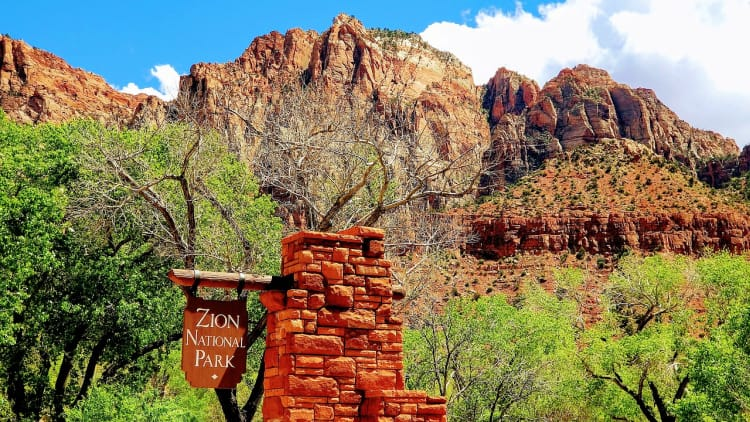 One entrance to Zion National Park in Utah