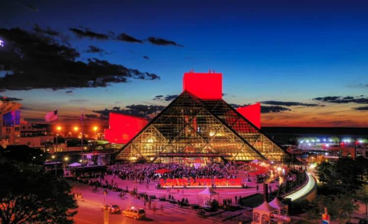 Aerial Drone Photo of the Rock and Roll Hall of Fame in Downtown Cleveland/Summer 2019. Taken by aerial agents