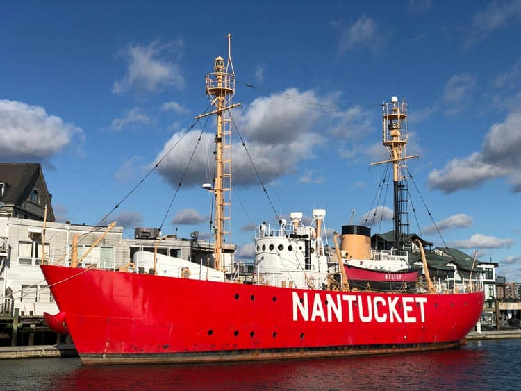 The big red Nantucket Lightship in the harbor