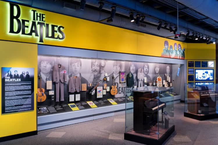 The Beatles section at the Rock n Roll Hall of Fame.