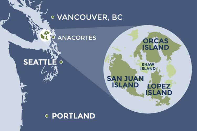 Where are Washington's San Juan Islands? Map courtesy of San Juan Islands Visitors Bureau