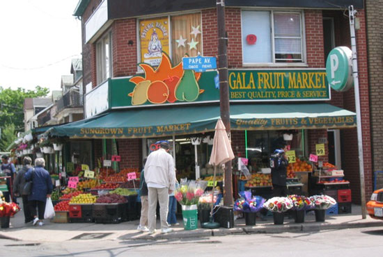 Toronto is filled with small neighborhood markets like this one. Photo by Claudia Carbone