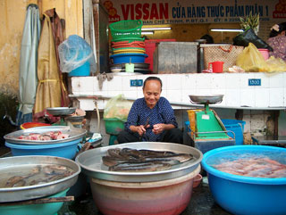 Lunchtime at the Ben Thanh Market in Ho Chi Minh City.