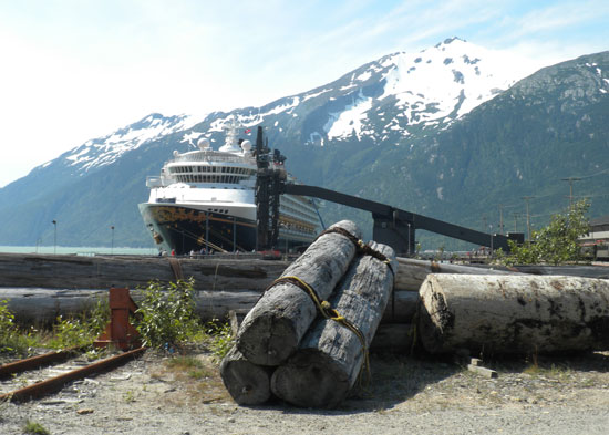 The Disney Wonder in Skagway, Alaska.