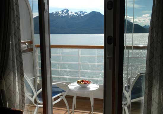 A scenic view of the Inside Passage from our stateroom on the Disney Wonder.