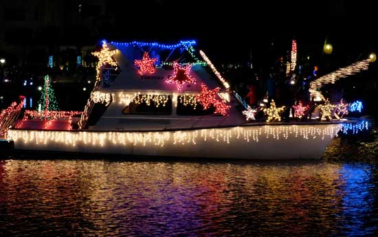 A boat in the Parade of Lights at Camana Bay