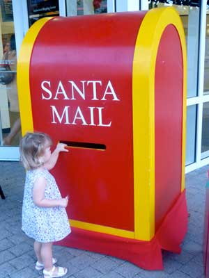 A special mailbox just for Santa in Camana Bay. Credit Claudia Carbone