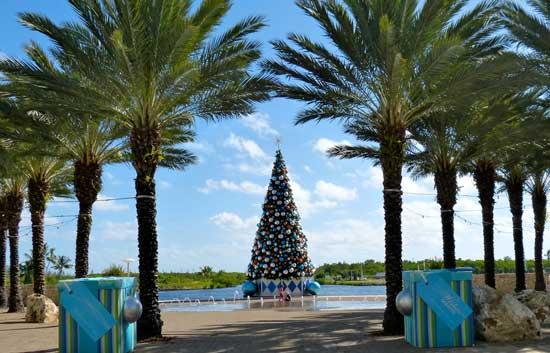The 40-foot tree is the centerpiece of Camana Bay.