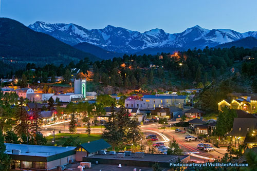 Estes Park, Colorado at dusk. Photo courtesy Estes Park CVB