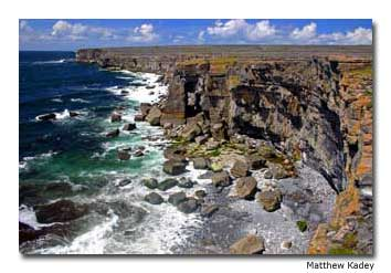 Sharp cliffs are a characteristic of the Aran Islands.