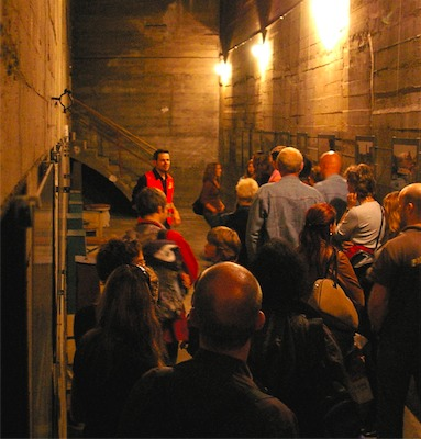 """The Berliner Unterwelten organization only allows thirty people at a time on their  """"Dark Worlds"""" tour of the Gesundbrunnen bunker, but during the height of World War II, as many as 5,000 Berliners crowded into its concrete confines. Photo by Berliner Unterwelten e.v./ Stefan Gier"""