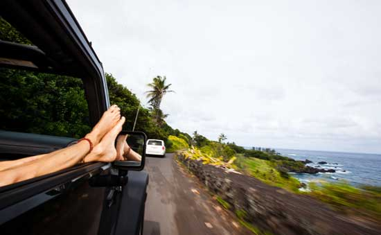 Driving on the road to Hana in Maui