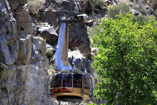 A tram turns as it rises up the steep side of the mountain on the edge of Palm Springs.  Take a jacket—it's chilly on top! Photo by Rick DuVal