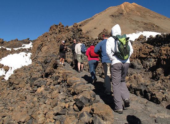 HIkers: Tenerife, Spain: Teide summit-above the clouds