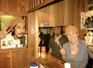 "The author was invited ""backstage"" to pose with Shin Kaneko, Marukyu's owner, and Nosuke Kurihara, and don the requisite towel-headband."